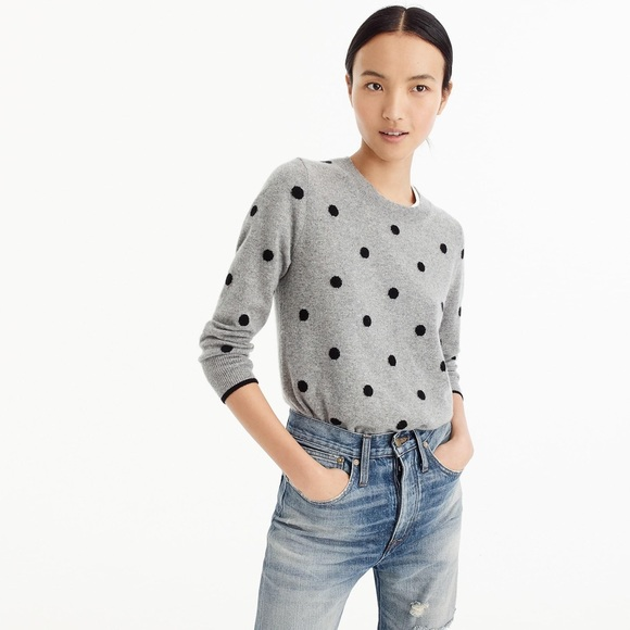 J Crew Sweaters Jcrew Polka Dot Sweater In Everyday Cashmere